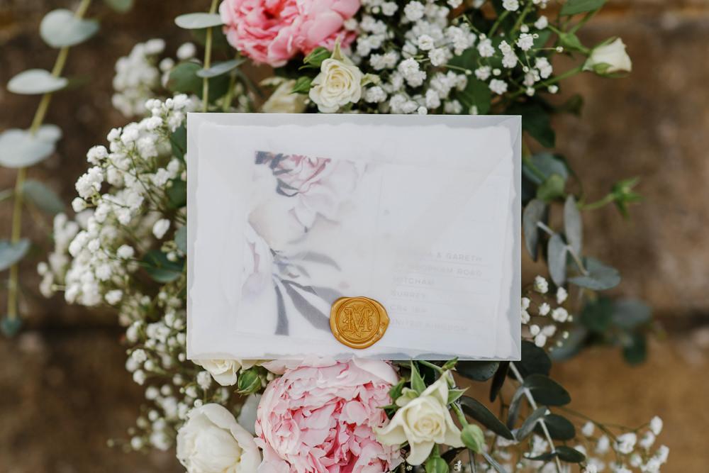 Invite Invitation Stationery Glassine Envelope Cotswolds Marquee Wedding Jessy Papasavva Photography