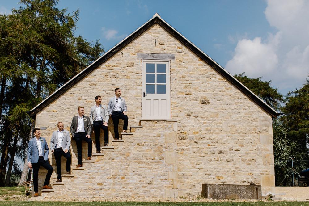 Groom Groomsmen Grey Jacket Black Chinos Cotswolds Marquee Wedding Jessy Papasavva Photography