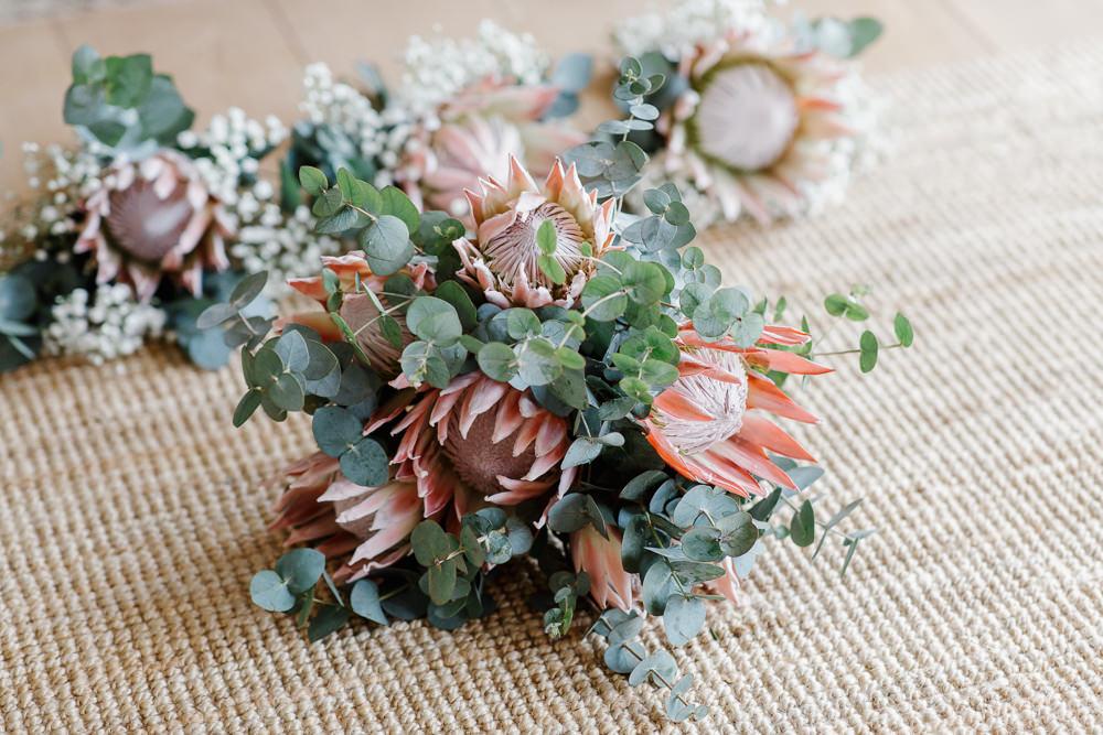 Bouquet Flowesr Bridal Bride Protea Cotswolds Marquee Wedding Jessy Papasavva Photography