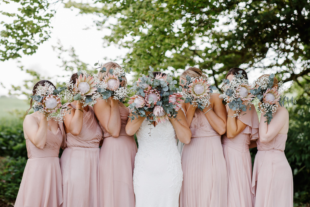 Bridesmaids Bridesmaid Dress Dresses Pink Bouquets Cotswolds Marquee Wedding Jessy Papasavva Photography
