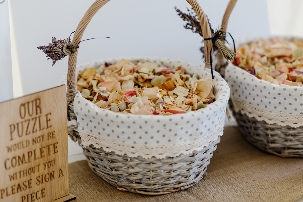 Confetti Petal Basket Cotswolds Marquee Wedding Jessy Papasavva Photography
