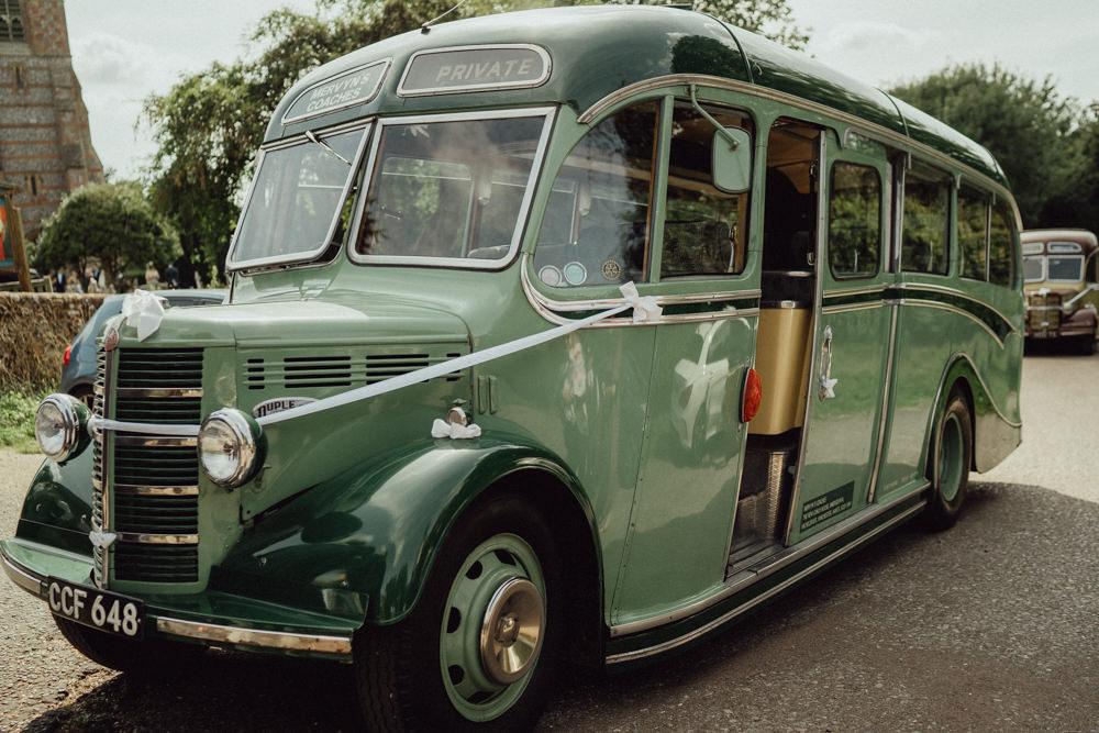 Vintage Bus Transport Countryside Barn Wedding Emily & Steve Photography