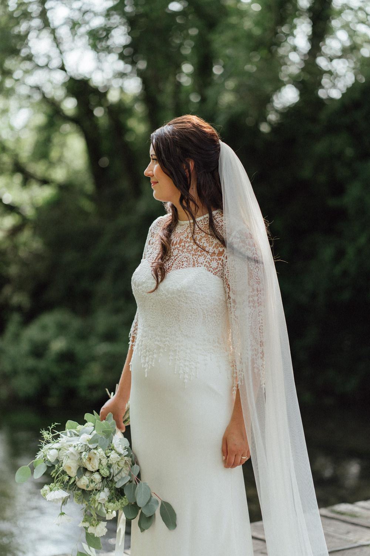 Bride Bridal Dress Gown Catherine Deane Tassels Crochet Top Veil Countryside Barn Wedding Emily & Steve Photography