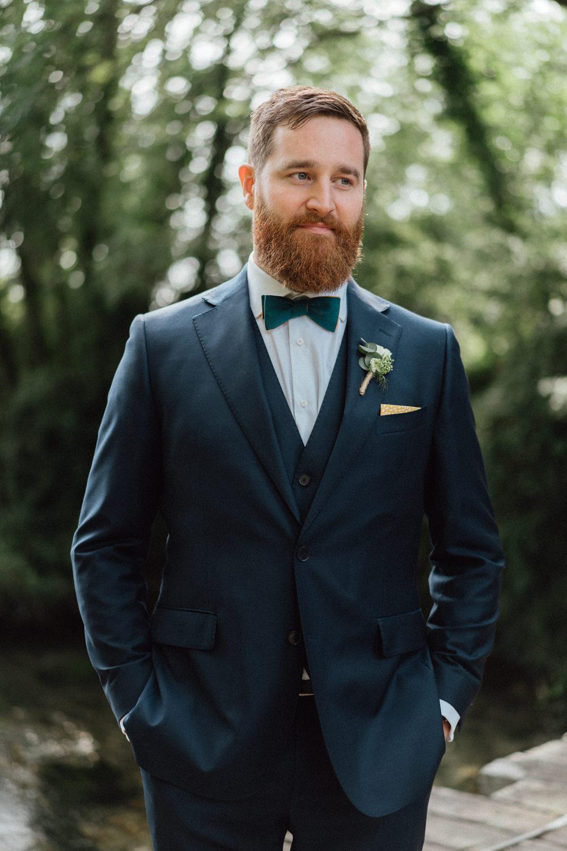 Groom Suit Blue Bow Tie Countryside Barn Wedding Emily & Steve Photography
