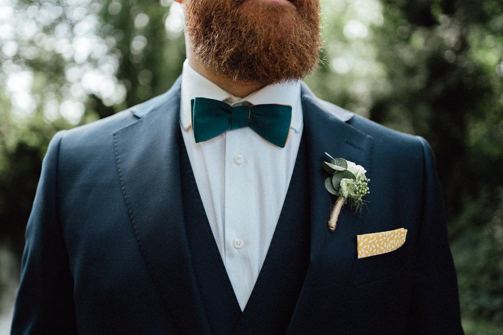 Groom Suit Blue Bow Tie Buttonhole Countryside Barn Wedding Emily & Steve Photography