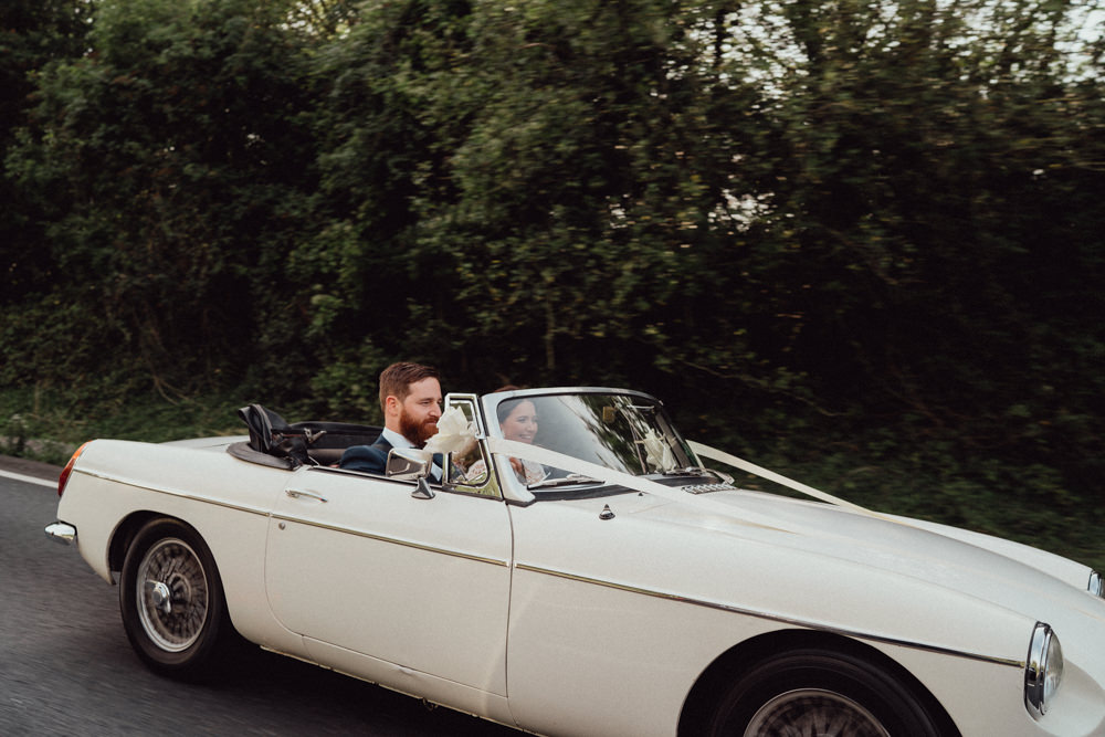 Classic Car Transport Countryside Barn Wedding Emily & Steve Photography