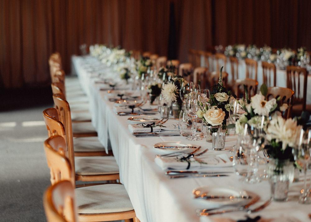 Long Tables Decor Flowers Countryside Barn Wedding Emily & Steve Photography