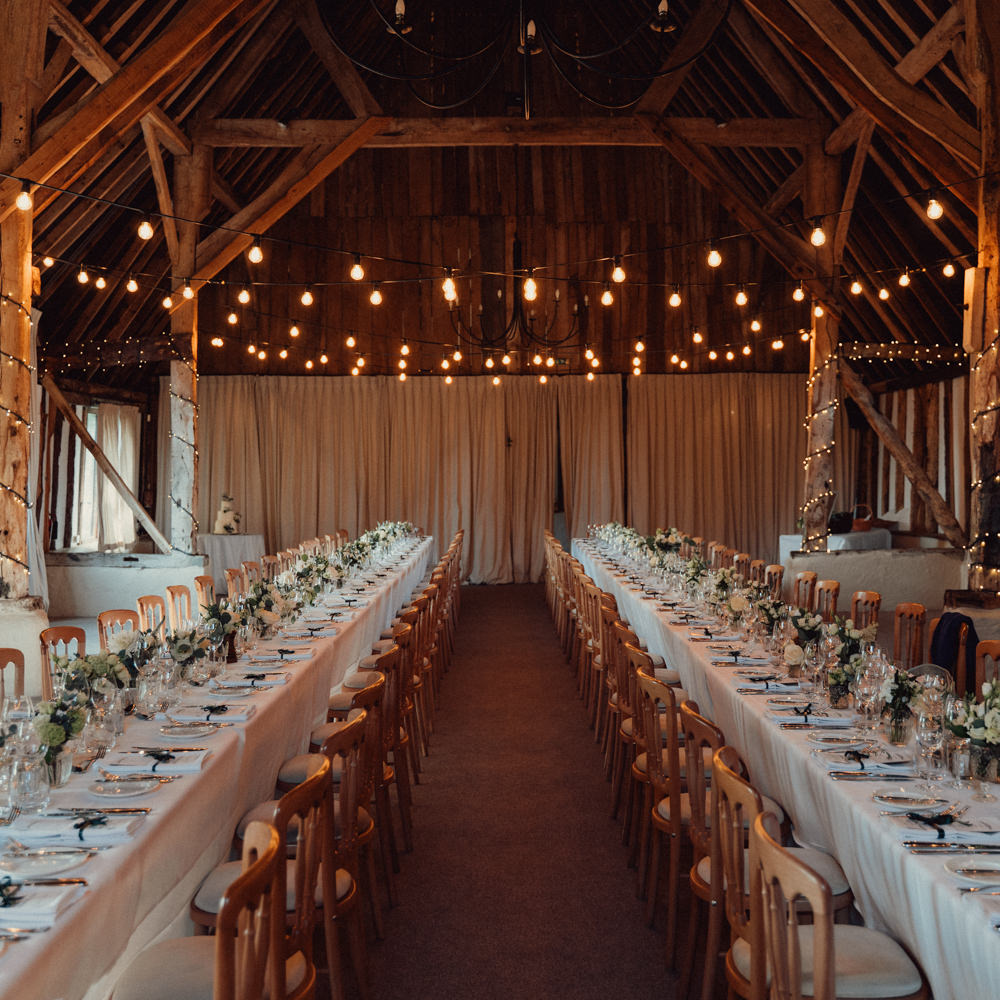 Long Tables Decor Flowers Festoon Lights Lighting Countryside Barn Wedding Emily & Steve Photography