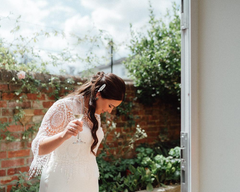 Bride Bridal Dress Gown Catherine Deane Tassels Crochet Top Countryside Barn Wedding Emily & Steve Photography