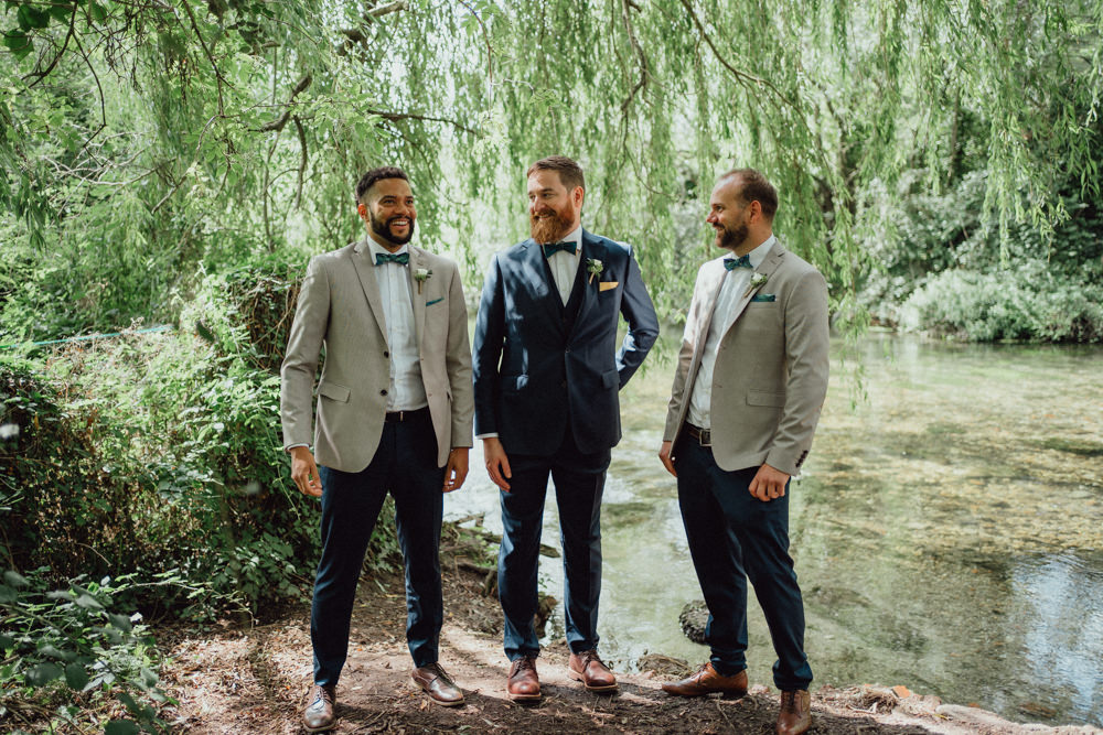 Groom Groomsmen Suits Mismatched Jackets Countryside Barn Wedding Emily & Steve Photography