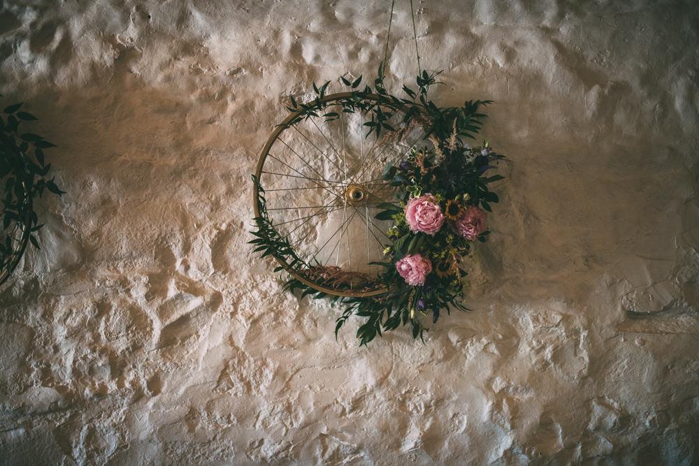 Floral Wreath Hoop Decor Dalduff Farm Wedding Northern Aye Photography