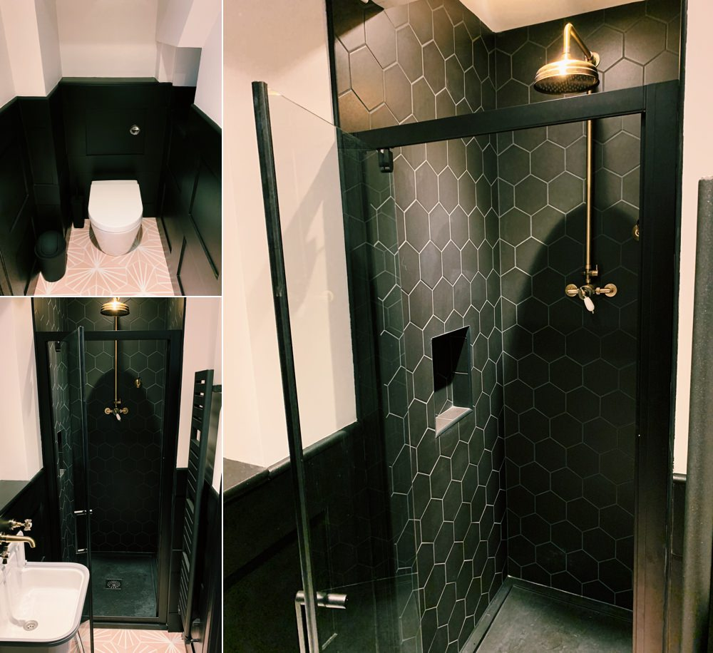 Downstairs Shower Room Cloakroom Black Pink Brass