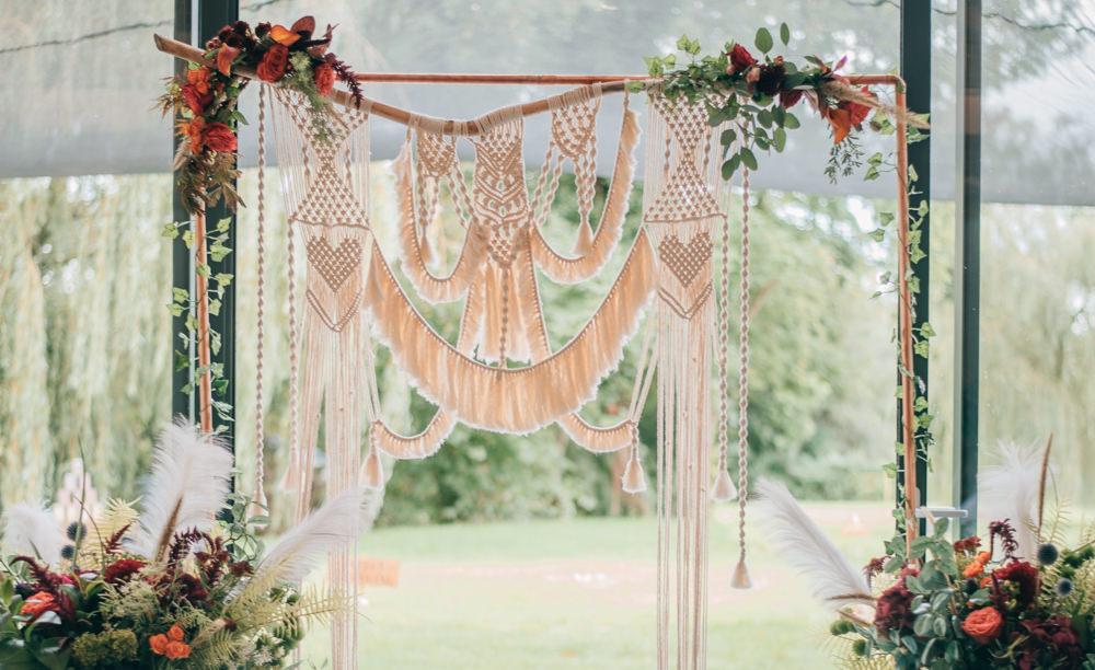Macrame Flower Arch Backdrop Ceremony Aisle Eco Friendly Wedding Inspiration Sarah Jayne Photography