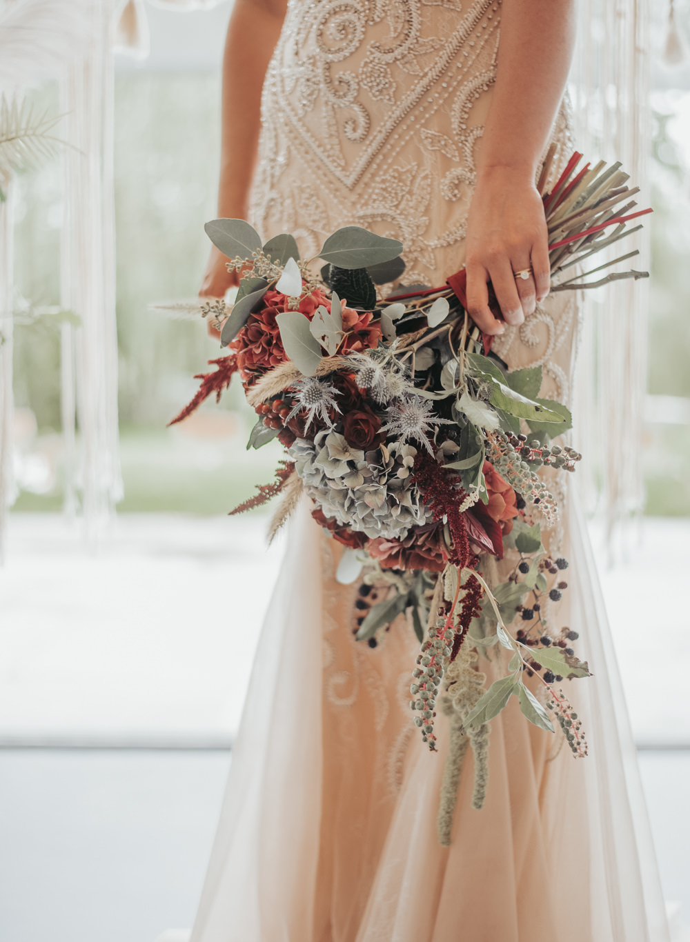 Bouquet Flowers Bride Bridal Hydrangea Burgundy Thistle Eco Friendly Wedding Inspiration Sarah Jayne Photography