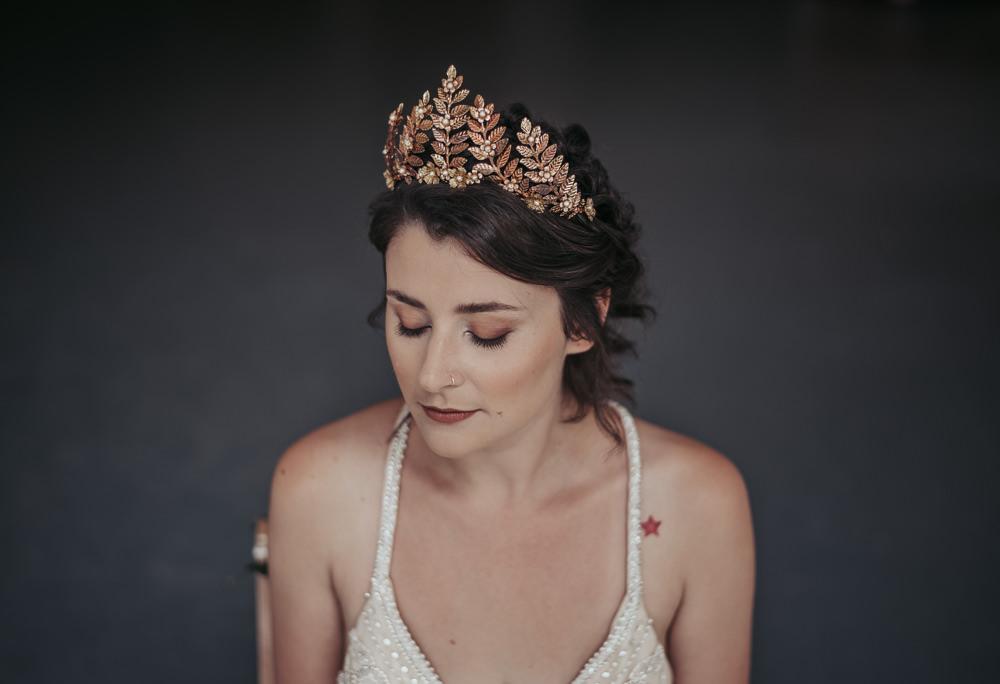 Bride Bridal Crown Tiara Make Up Eco Friendly Wedding Inspiration Sarah Jayne Photography