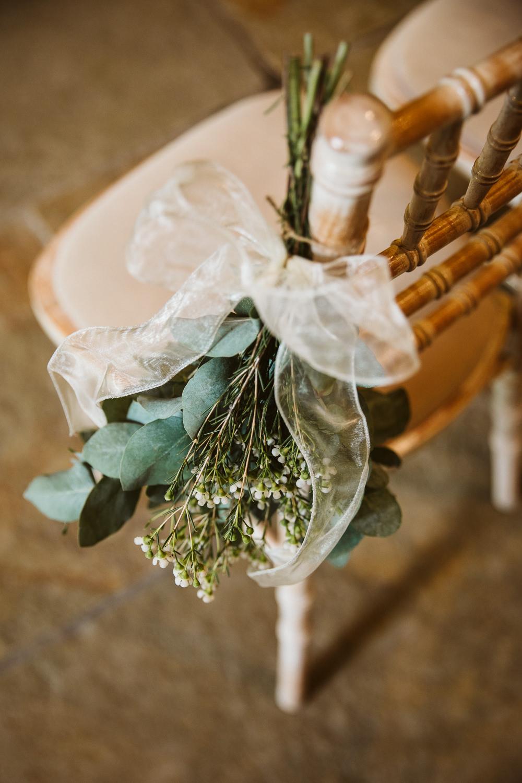 Eucalyptus Flowers Pew End Chairs Aisle Eden Barn Wedding Margarita Hope Photography