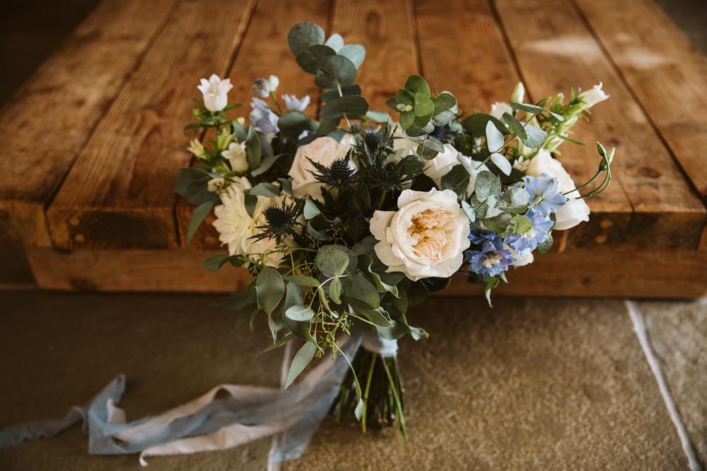Bouquet Flowers Bride Bridal Rose Eucalyptus Blue Delphinium Eden Barn Wedding Margarita Hope Photography