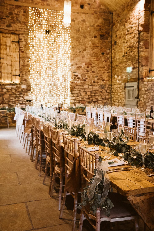 Long Table Greenery Foliage Garland Runner Fairy Light Curtrain Backdrop Eden Barn Wedding Margarita Hope Photography