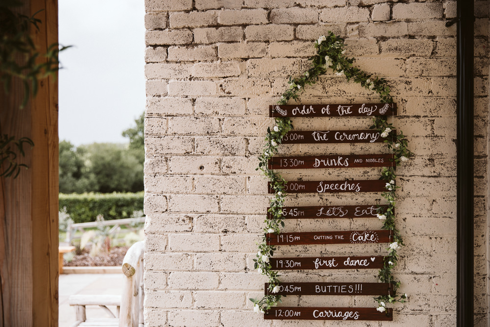 Sign Signs Signage Order of the Day Eden Barn Wedding Margarita Hope Photography
