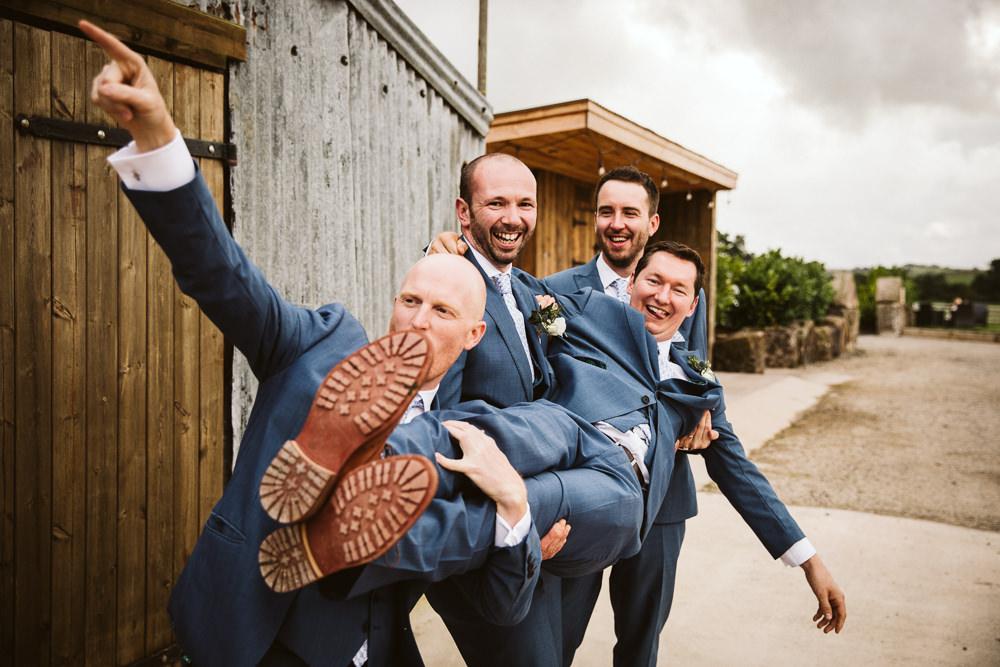 Suit Groom Groomsmen Blue Eden Barn Wedding Margarita Hope Photography