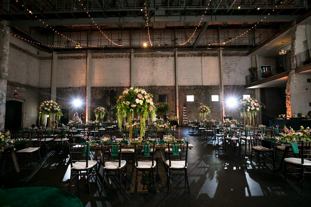 Warehouse Fairy Lights Long Tables Decor Floral Minneapolis Wedding Jeannine Marie Photography