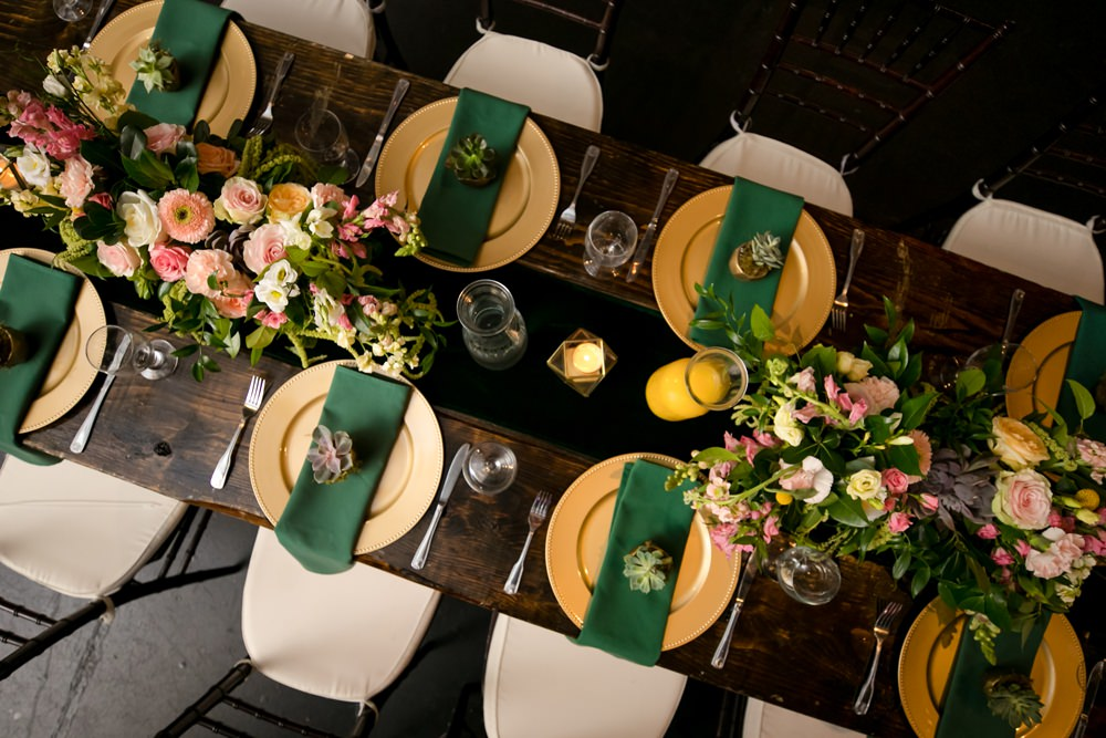 Table Decor Place Setting Green Gold Floral Minneapolis Wedding Jeannine Marie Photography
