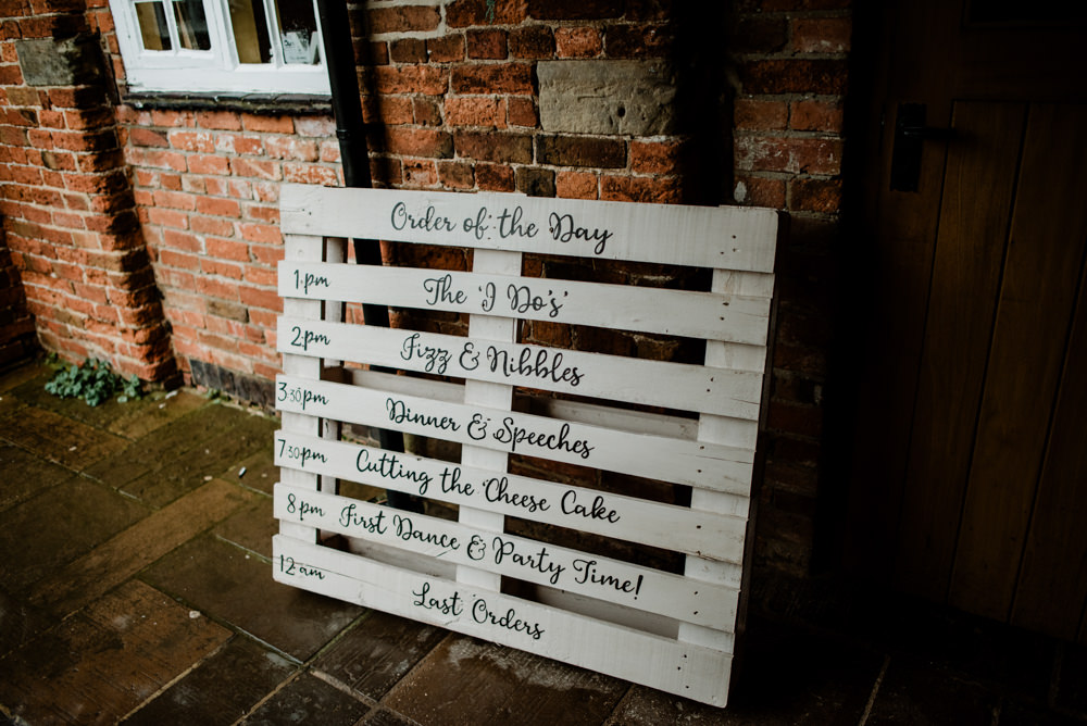 Wooden Pallet Sign Signs Signage Order of the Day Fun Barn Wedding Kazooieloki Photography