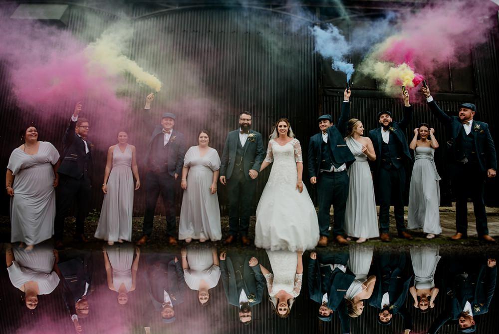 Fun Barn Wedding Kazooieloki Photography Smoke Bomb Photo Portrait Photographs