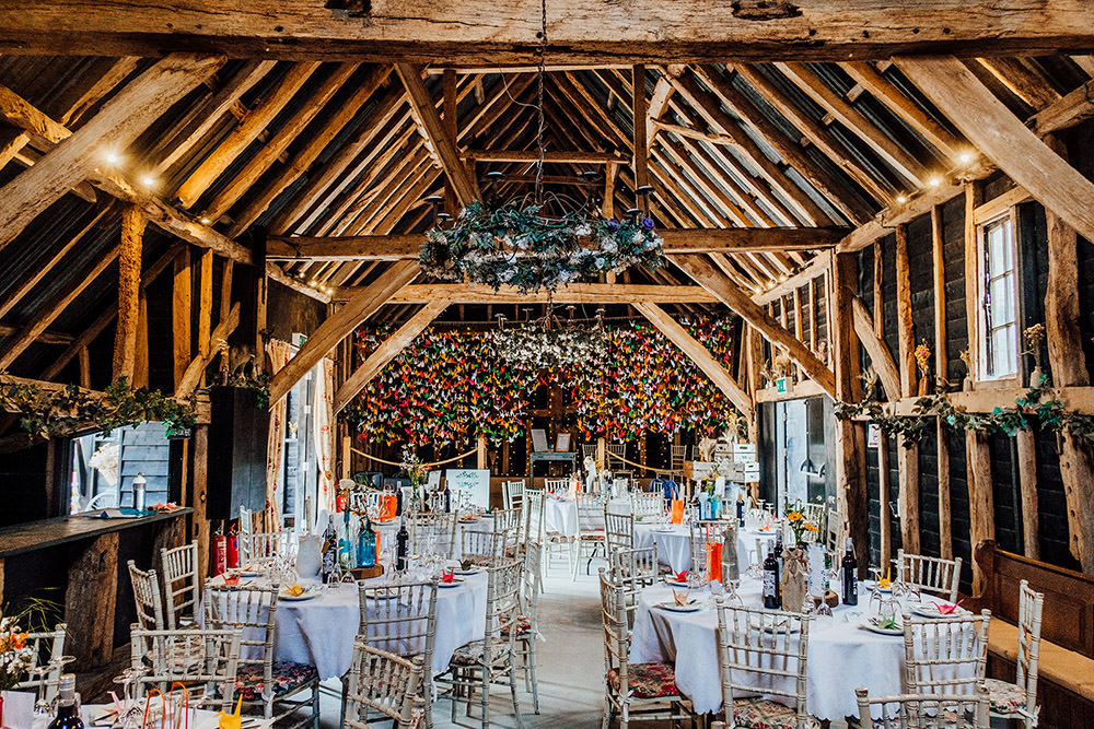 Origami Backdrop Papercranes Barn Hookhouse Farm Wedding Anna Pumer Photography