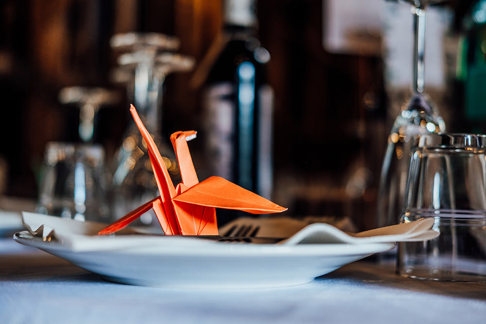 Origami Papercranes Place Setting Hookhouse Farm Wedding Anna Pumer Photography