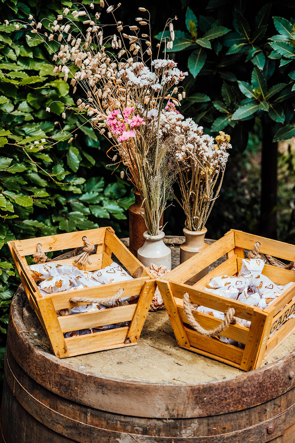 Confetti Cones Wooden Crates Hookhouse Farm Wedding Anna Pumer Photography