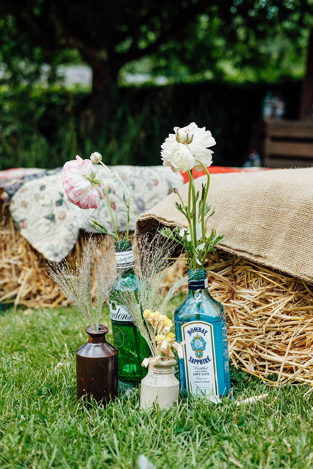 Flowers Gin Bottles Decor Hookhouse Farm Wedding Anna Pumer Photography