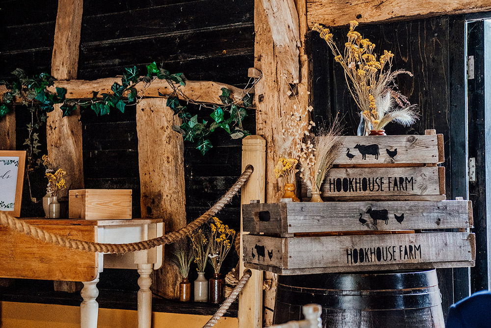 Wooden Box Crate Flowers Hookhouse Farm Wedding Anna Pumer Photography