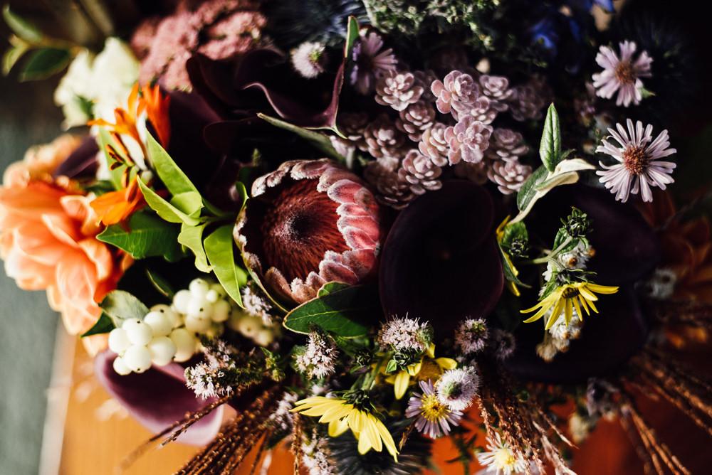 Bouquet Flowers Bride Bridal Protea Longton Wood Wedding Alex Tenters Photography