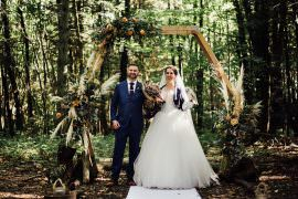 Longton Wood Wedding Alex Tenters Photography Flower Arch Hexagon Backdrop Ceremony Aisle Flowers