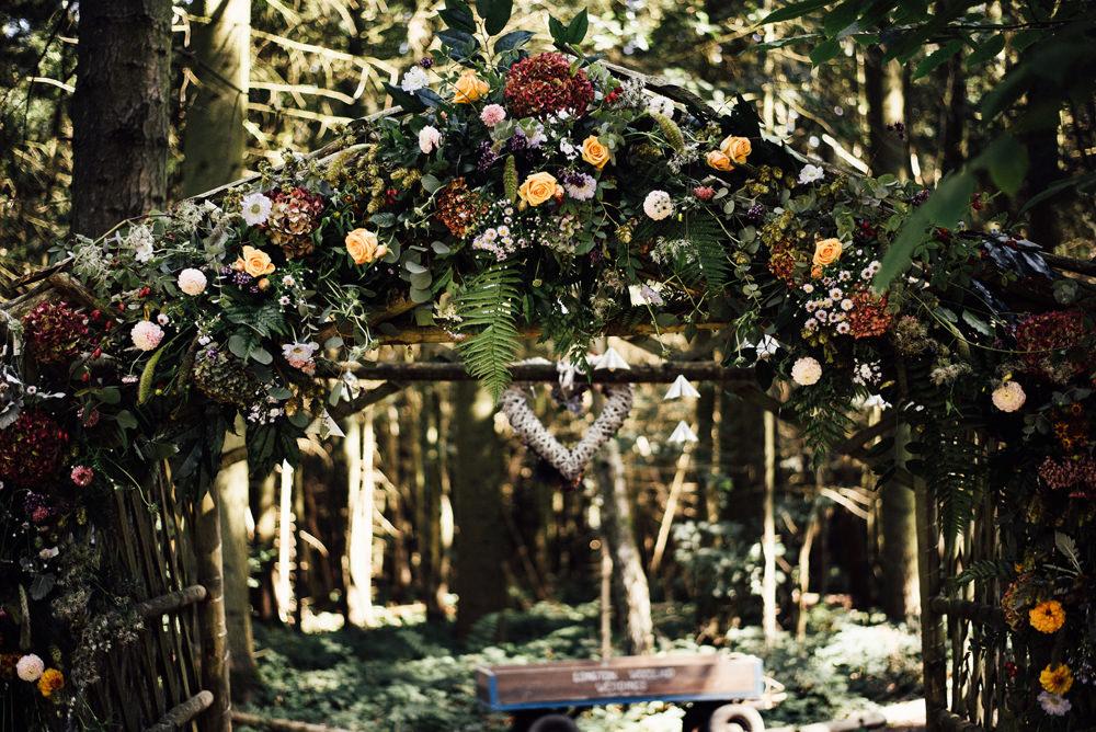 Flower Arch Entrance Backdrop Ceremony Aisle Flowers Longton Wood Wedding Alex Tenters Photography