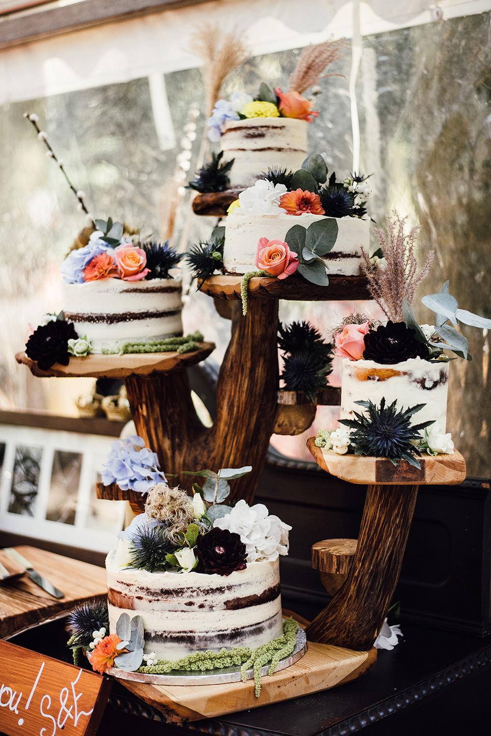 Semi Naked Cake Stand Longton Wood Wedding Alex Tenters Photography