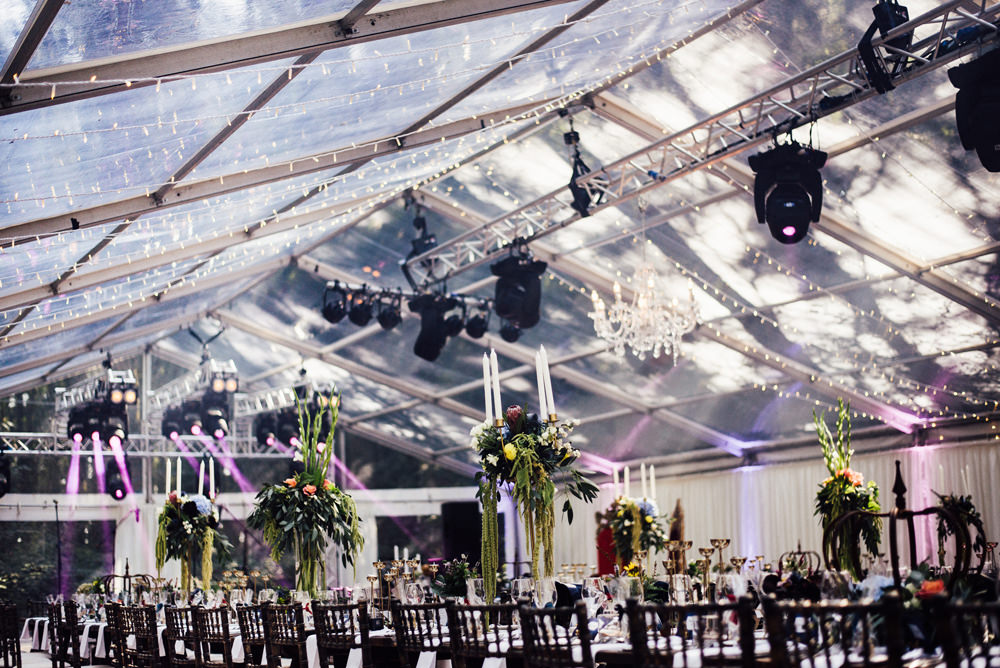 Clear Marquee Fairy Lights Tall Flower Arrangements Longton Wood Wedding Alex Tenters Photography