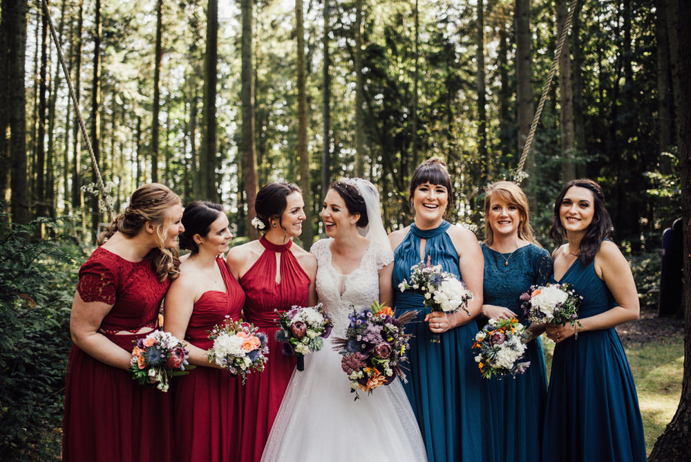 Bridesmaids Bridesmaid Dress Dresses Red Green Longton Wood Wedding Alex Tenters Photography