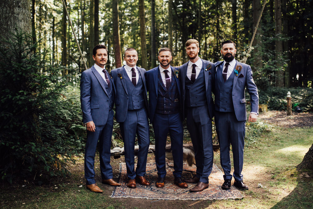 Groom Suit Feather Buttonhole Groomsmen Navy Blue Longton Wood Wedding Alex Tenters Photography