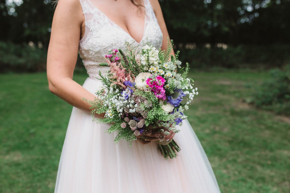 Bouquet Flowers Bride Bridal Wildflowers Natural Milling Barn Wedding Hertfordshire Emily Tyler Photography