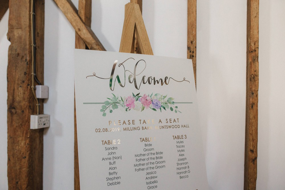 Table Plan Seating Chart Gold Floral Calligraphy Milling Barn Wedding Hertfordshire Emily Tyler Photography