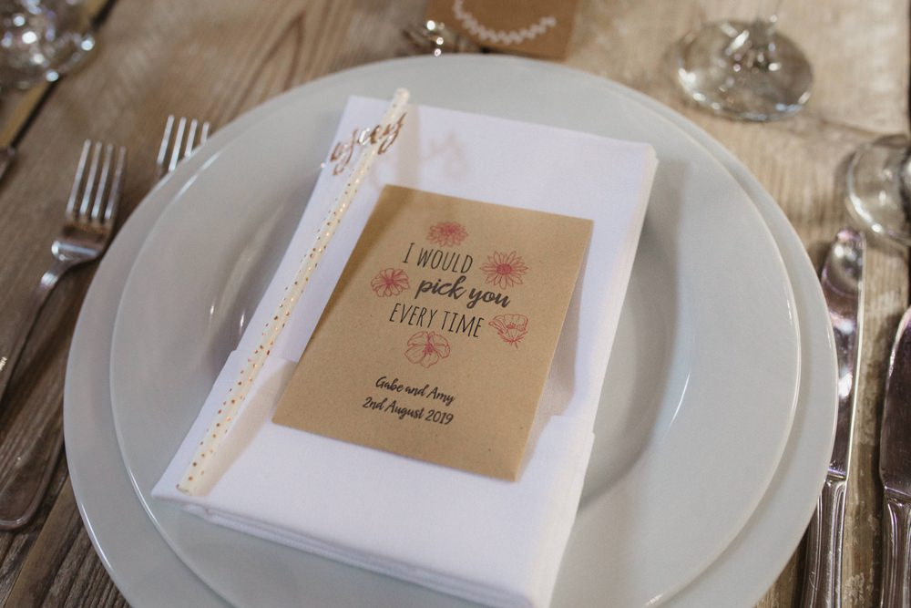 Seed Favours Place Setting Milling Barn Wedding Hertfordshire Emily Tyler Photography