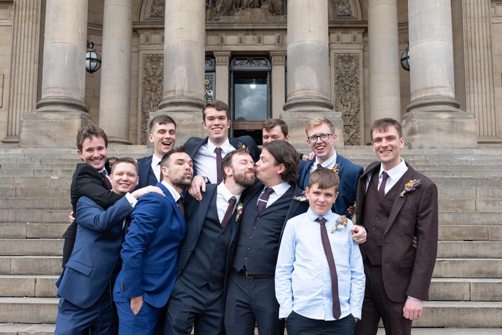 Groom Groomsmen Suit Navy Burgundy Tie Northern Monk Brewery Wedding Lisa Howard Photography