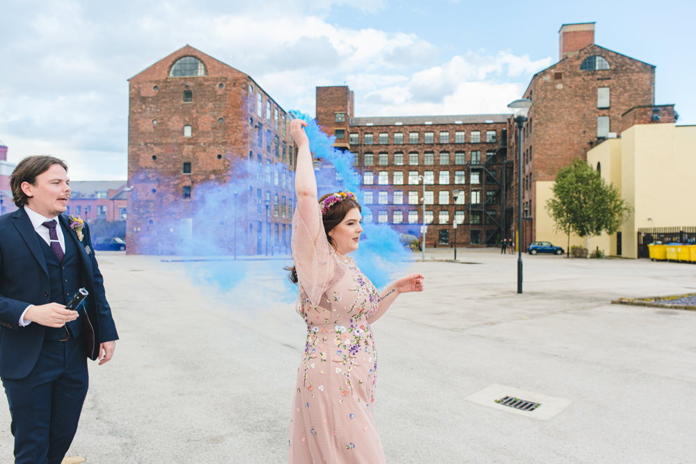 Northern Monk Brewery Wedding Lisa Howard Photography Smoke Bomb Photo Portrait Photographs Blue Purple