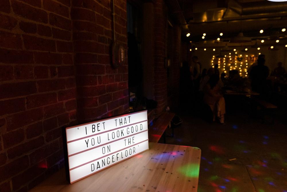 Dancefloor Sign Signs Northern Monk Brewery Wedding Lisa Howard Photography