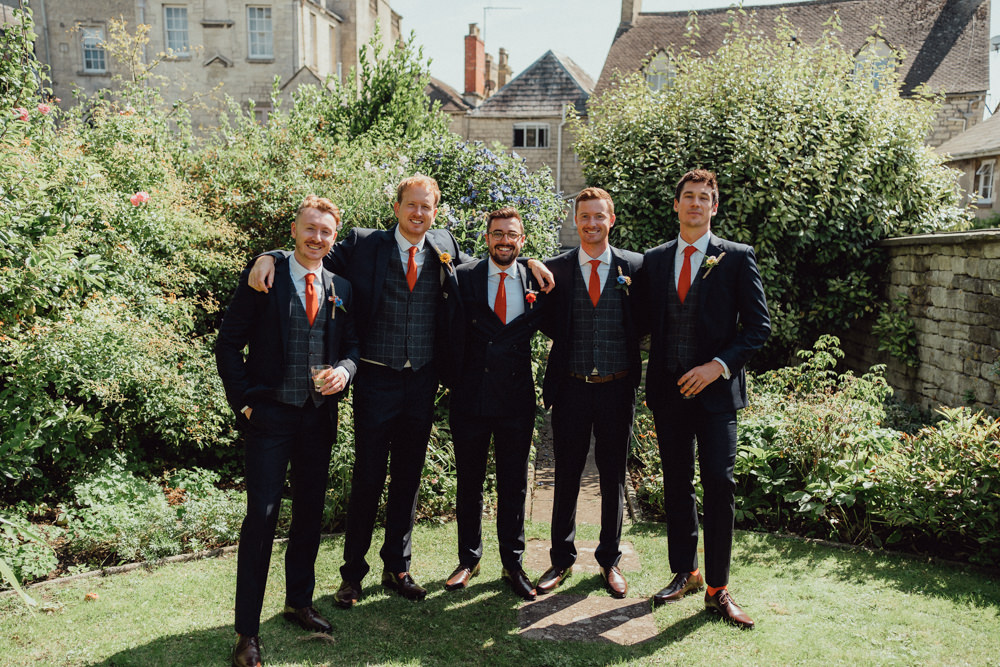 Groom Groomsmen Suits Orange TIe Priors Court Barn Wedding Emily & Steve Photography