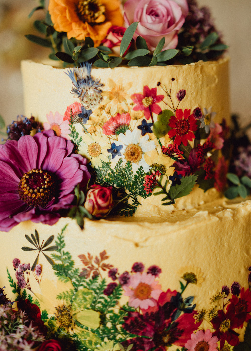 Petal Cake Edible Flowers Floral Buttercream Priors Court Barn Wedding Emily & Steve Photography