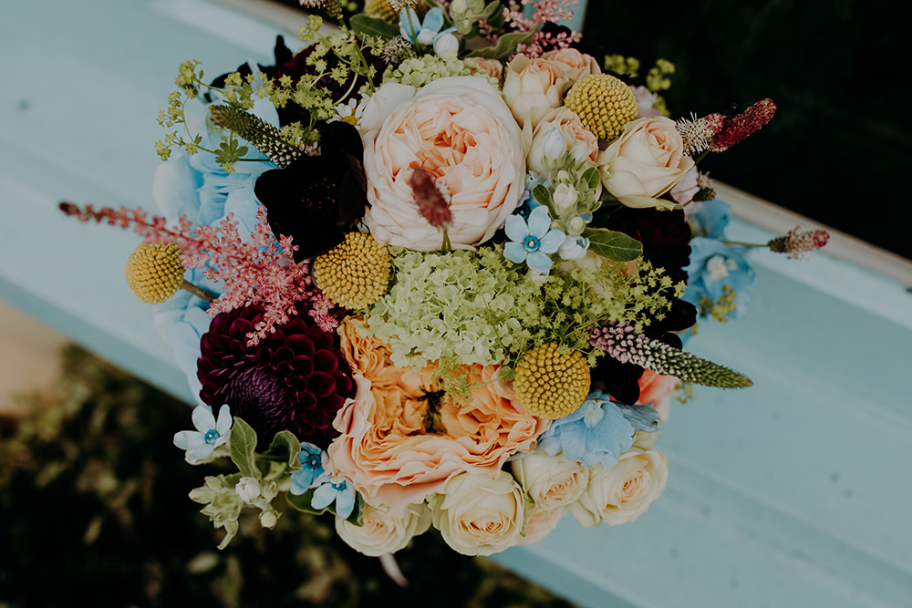 Bride Bridal Bouquet Flowers Rose Dahlia Billy Ball Astilbe Romantic Rainy Wedding Irene Yap Photography