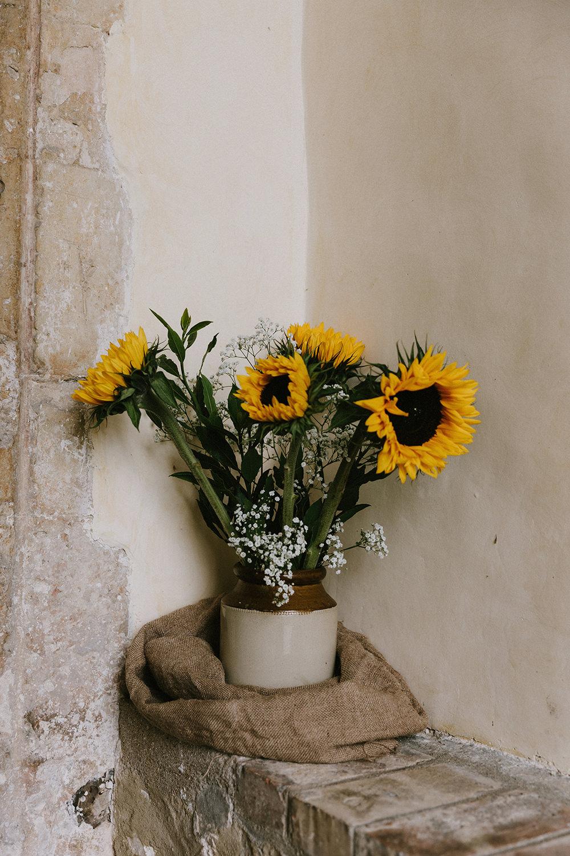 Church Flowers Sunflowers Wedding Chris Bradshaw Photography